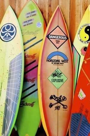 Kristopher Tom's exhibit at Bloomingdale's in Santa Monica features vintage surfboards from the 1980s