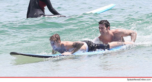 Justin Bieber goes surfing