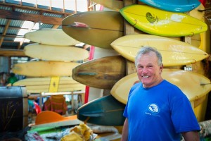 Surfer and collector Phil Critchlow among his many
